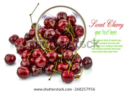 Macro view of sweet cherry in a bowl, text - stock photo