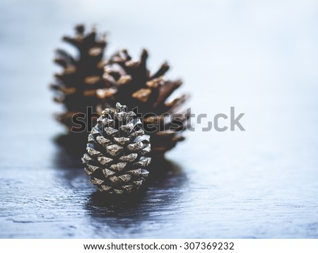 Macro view of three pine cones on rustic wooden surface, shallow DOF - stock photo
