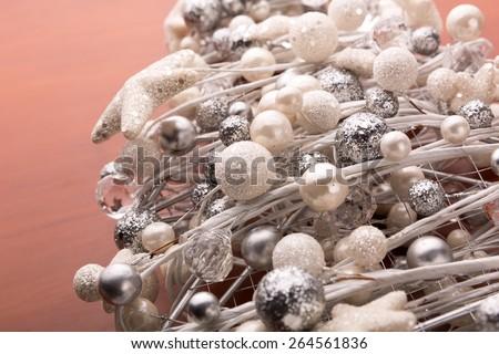 Macro view of white christmas decorations - stock photo
