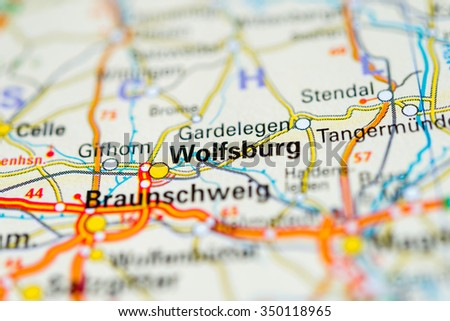 Macro View Wolfsburg Germany On Map Stock Photo 350118965 Shutterstock