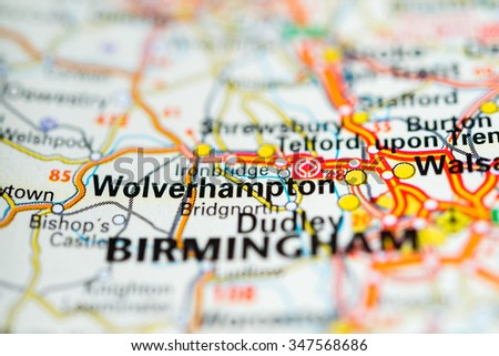 Macro view of Wolverhampton, United Kingdom on map. - stock photo
