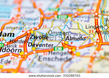 Macro View Zwolle Netherlands On Map Stock Photo 350288765