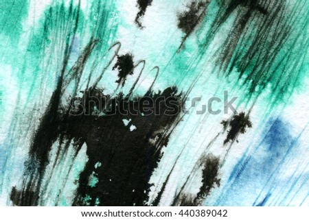 Macro wash watercolor background. Image of a colorful wet paint stains and splashes. Artistic technique illustration. Hand made backdrop art for print - stock photo