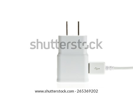 Macro White mobile charger isolated on white background - stock photo
