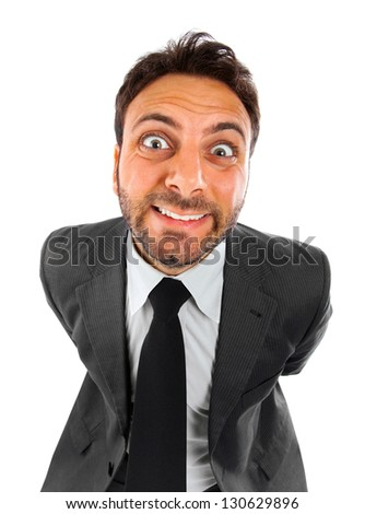 Mad businessman on white background