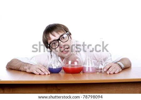 mad chemist conducting experiments in the laboratory with flasks, isolated over white,