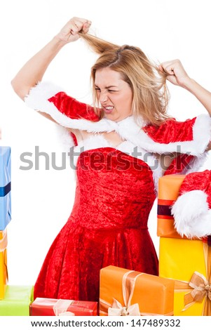 Mad Christmas woman in Santa costume, isolated on white background. - stock photo