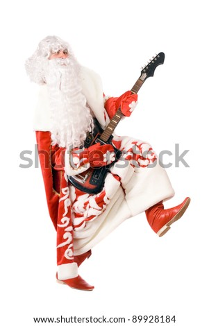 Mad Ded Moroz (Father Frost) plays on broken guitar. Isolated on white