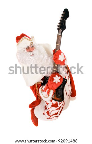 Mad Ded Moroz (Father Frost) with a broken guitar, Isolated - stock photo