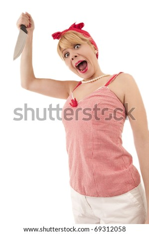 Mad woman attacking with knife isolated on white - stock photo