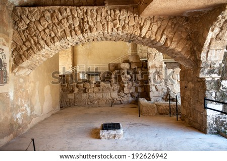 MADABA, JORDAN - APR 28, 2014: Hippolytus Hall in the Archaeological Museum of Madaba. It's the place where some mosaics from the 5th to 7th are preserved - stock photo