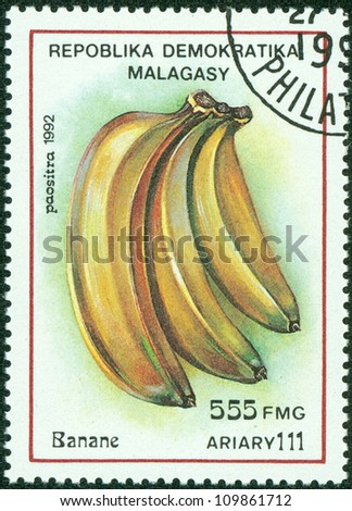 MADAGASCAR - CIRCA 1992: Postage stamps printed in Madagascar, is shown banana, circa 1992 - stock photo