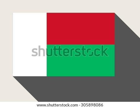 Madagascar flag in flat web design style. - stock photo