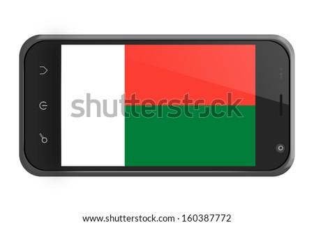 Madagascar flag on smartphone screen isolated on white - stock photo