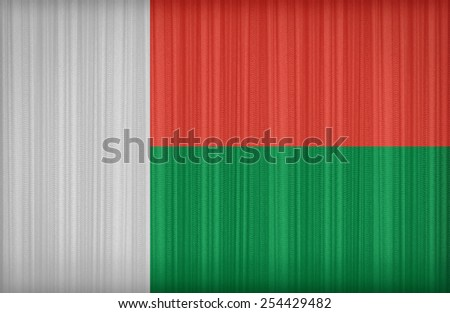 Madagascar flag pattern on the fabric curtain,vintage style - stock photo