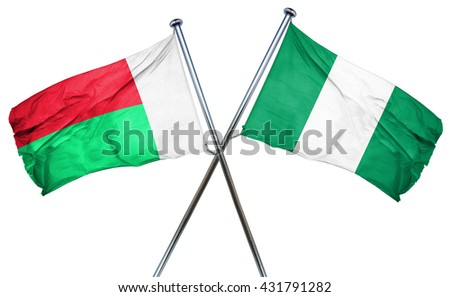Madagascar flag with Nigeria flag, 3D rendering