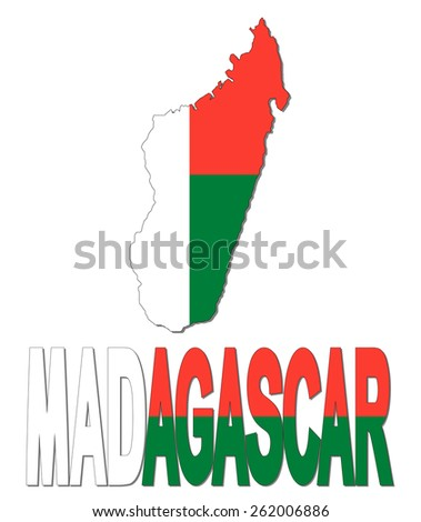 Madagascar map flag and text illustration - stock photo