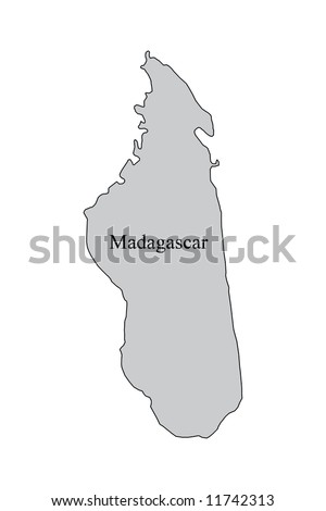 Madagascar Map Outline Map Madagascar Grey Stock Illustration - Madagascar map outline
