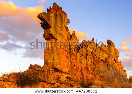 Madagascar rock in front of the sky in Madagascar