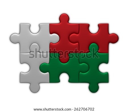 Madagaskar flag assembled of puzzle pieces isolated on white background - stock photo