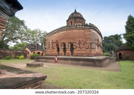 Madanmohan Temple, Bishnupur , India - made of terracotta (baked clay) - world famous tourist spot. with MR - stock photo