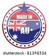 Made in Australia illustration stamp isolated over a white background - stock vector