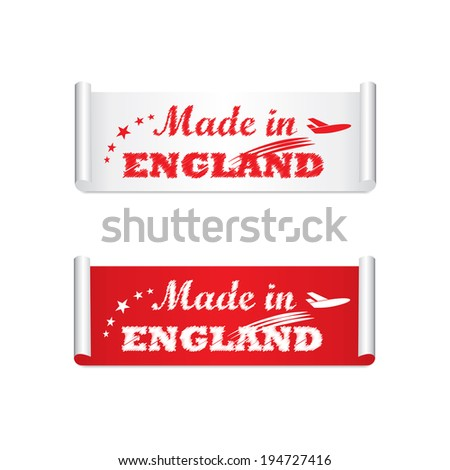 Made in England label, tag and sticker - jpg. - stock photo