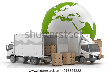Made in Europe. Transportation. Manufacturing in Europe. - stock photo
