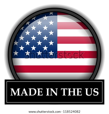 Made in flag button series - US - stock photo