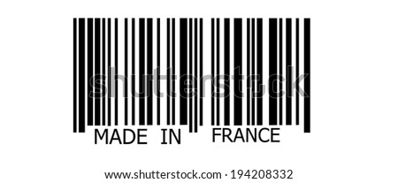 Made in France on abstract barcode security pattern background - stock photo