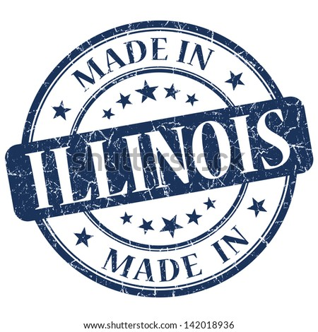 made in illinois stamp - stock photo