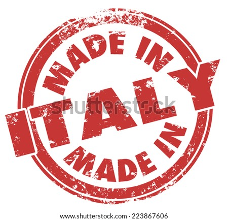 Made in Italy words on a round red stamp, badge or icon to illustrate pride in goods and products exported from the Italian country in Europe - stock photo