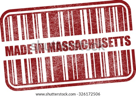 Made in Massachusetts With Barcode And Shadow Red Grunge Stamp Isolated On White Background.  - stock photo
