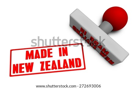 Made in New Zealand Stamp or Chop on Paper Concept in 3d