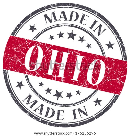 made in Ohio red round grunge isolated stamp - stock photo
