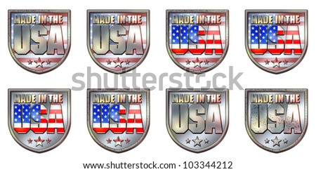 Made in the USA Chrome Shield with clipping path graphic