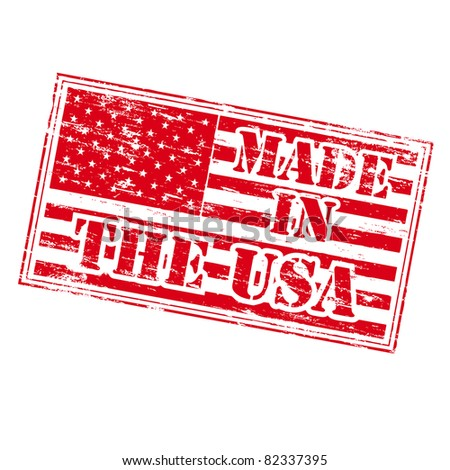 MADE IN THE USA Rubber Stamp - stock photo