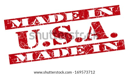 made in USA grunge red stamp - stock photo