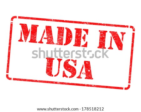 Made in USA - Inscription on Red Rubber Stamp Isolated on White. - stock photo