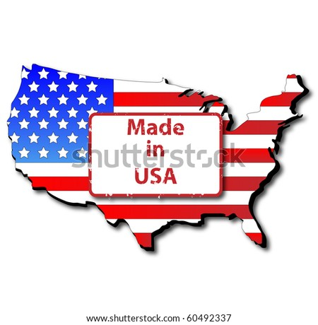Made in USA, Map and Flag - stock photo