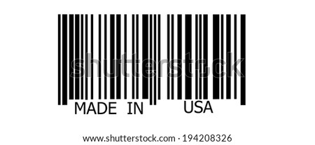 Made in USA on abstract barcode security pattern background - stock photo