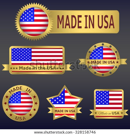 Made in  USA. Set of  icons and labels. Raster version - stock photo