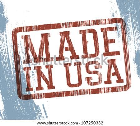 Made in USA stamp. Raster version. - stock photo