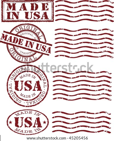 made in usa stamp with red ink - stock photo