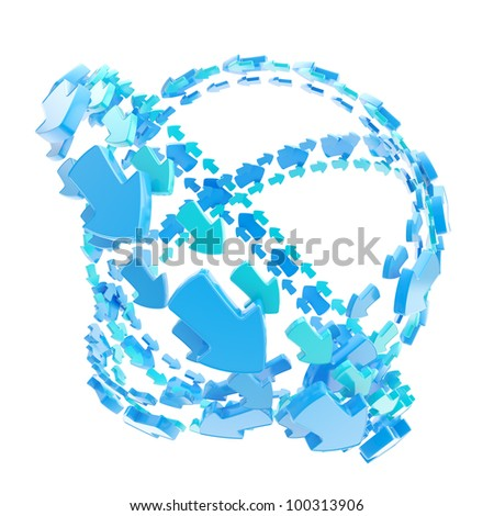 Made of blue arrow orbit route empty sphere isolated on white - stock photo
