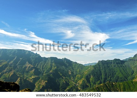 Madeira moutains with mist.