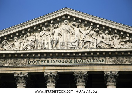 Madeleine Church in Paris, France - stock photo