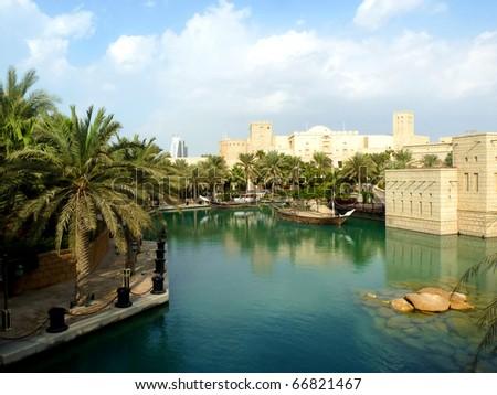 Madinat Jumeirah Resort in Dubai Lake View - stock photo