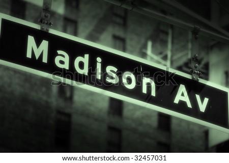 Madison Avenue sign - stock photo