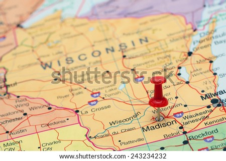 Madison pinned on a map of USA  - stock photo